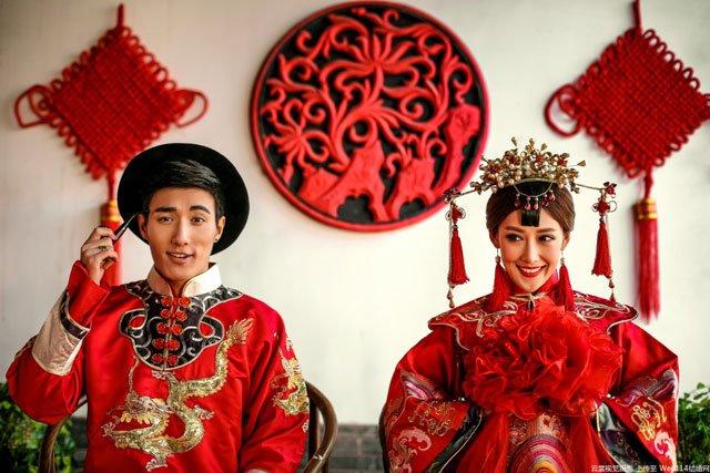 chinese traditional red wedding qipao cheongsam dress
