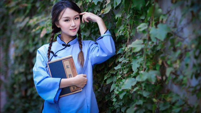 republic china student girl wear qipao