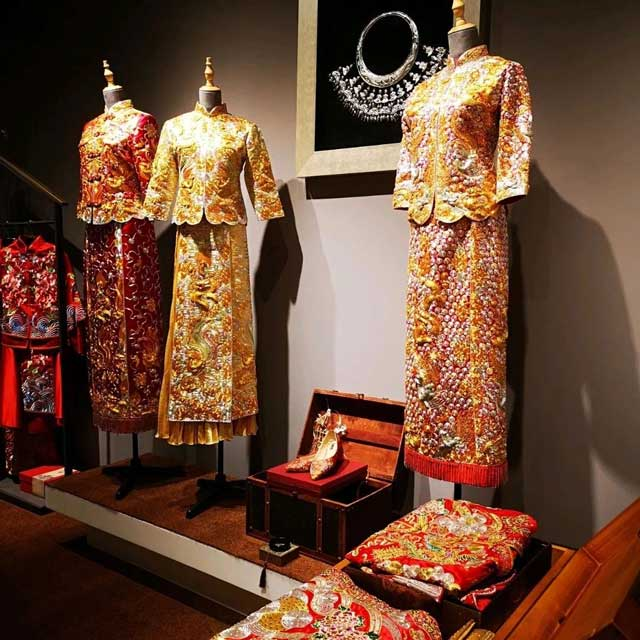 traditional chinese wedding dress long feng gua modern style newhanfu