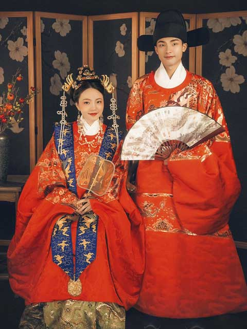 traditional chinese wedding dress ming dynasty style newhanfu