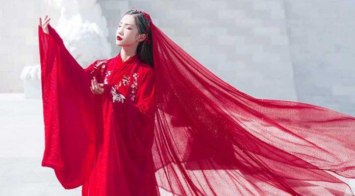 red chinese dress clothing female hanfu