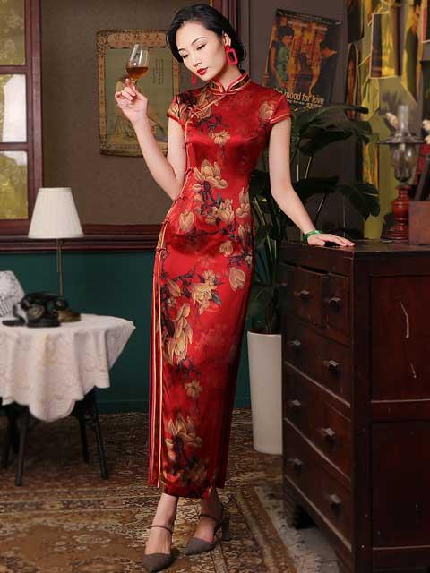 red chinese dress clothing cheongsam