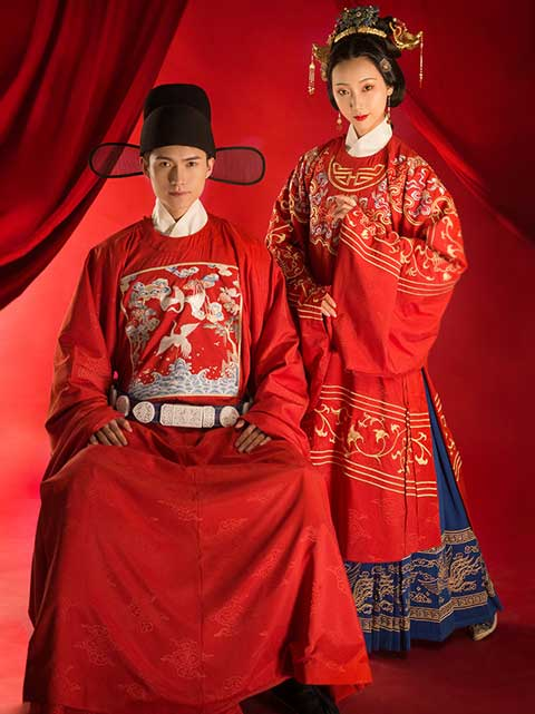 red chinese dress clothing wedding hanfu