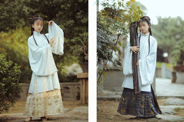 Chinese long dress ming style aoqun